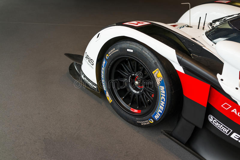 Audi R18 Le Mans car. In showroom for exhibition royalty free stock image