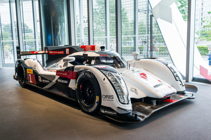Audi R18 Le Mans car. In showroom for exhibition royalty free stock photos