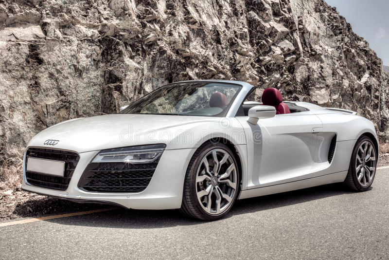 Audi R8 in the rocky mountain. S of the Arab Emirates stock image