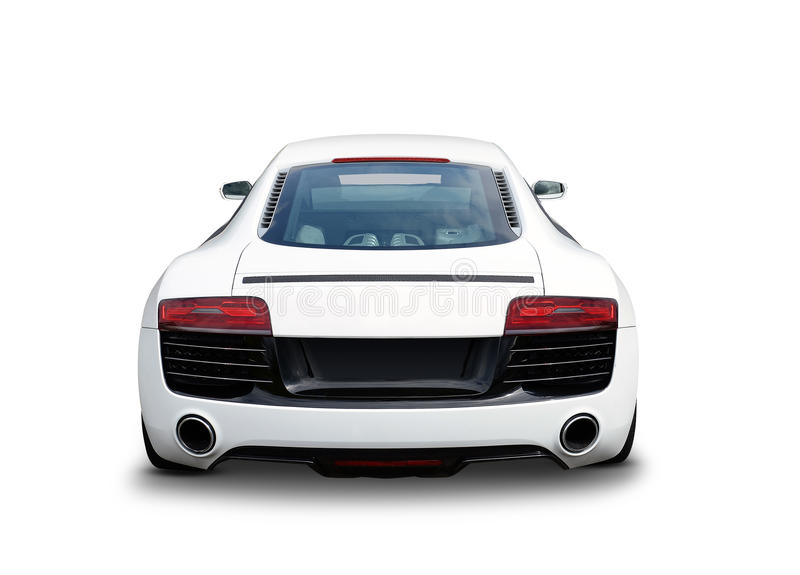 Audi R8 Sports car. View from rear of white Audi R8 luxury sports car stock image