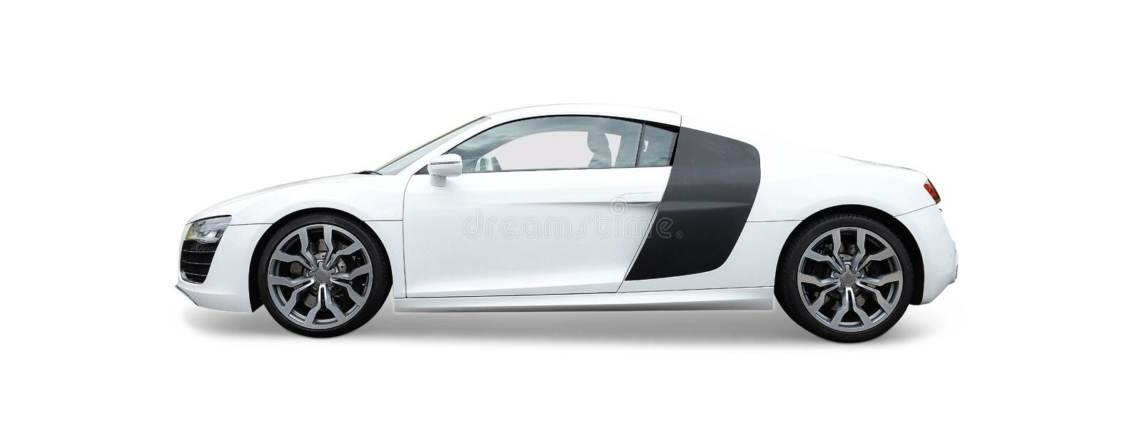 Audi R8 Sports car. White Audi R8 Luxury high performance sports car with alloy wheels and electric hood (top), white background royalty free stock image