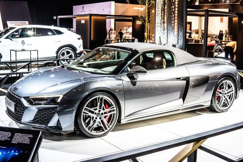 Audi R8 Spyder V10 plus w Brussels Motor Show, Second Generation, Type 4S, produkowane przez niemieckiego producenta samochodów A zdjęcie stock