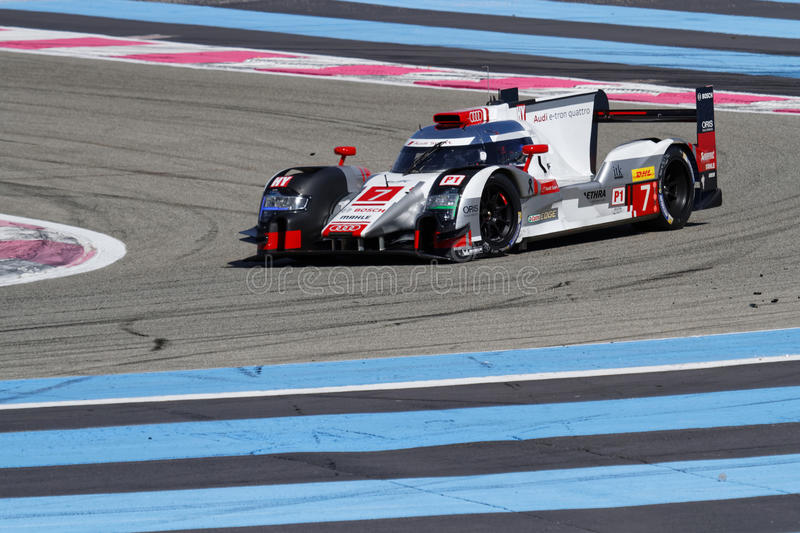 Audi R18 on track. LE CASTELET, FRANCE, March 28, 2015 : Audi R18 on track during the training sessions for World Endurance Car Championship, before the start of stock photos