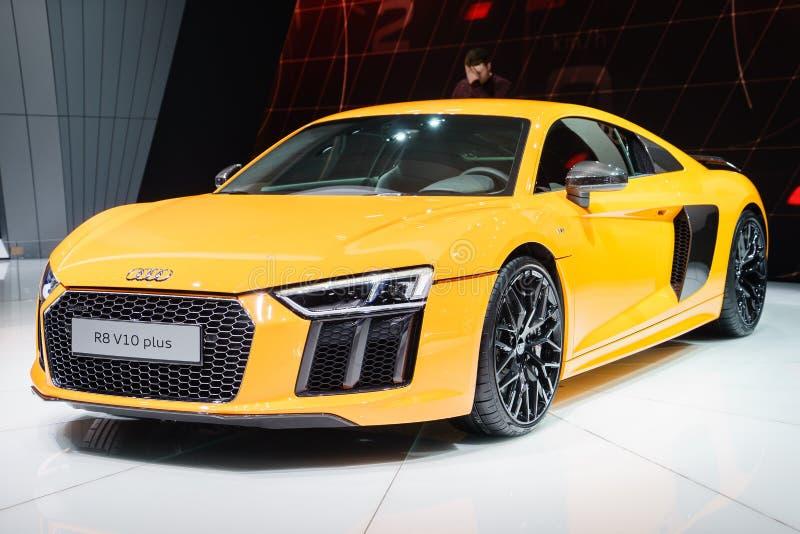 Audi R8 V10 plus, Autoausstellung Geneve 2015 stockbild