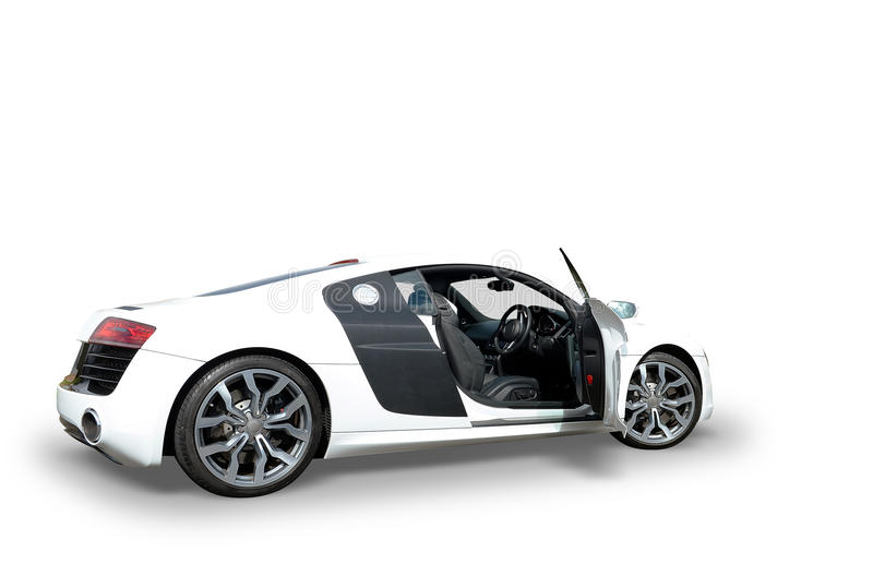 Audi R8 white car. Side profile of Audi R8 white sports car on white background royalty free stock image