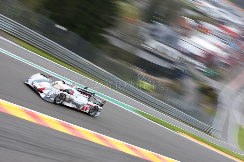 Audi R18 Hybrid. SPA FRANCORCHAMPS - MAY 3: Marcel Fassler, Andre Lotterer and Benoit Treluyer in the Audi R18 Hybrid racing on May 3, 2012 in the 6 hours race royalty free stock image