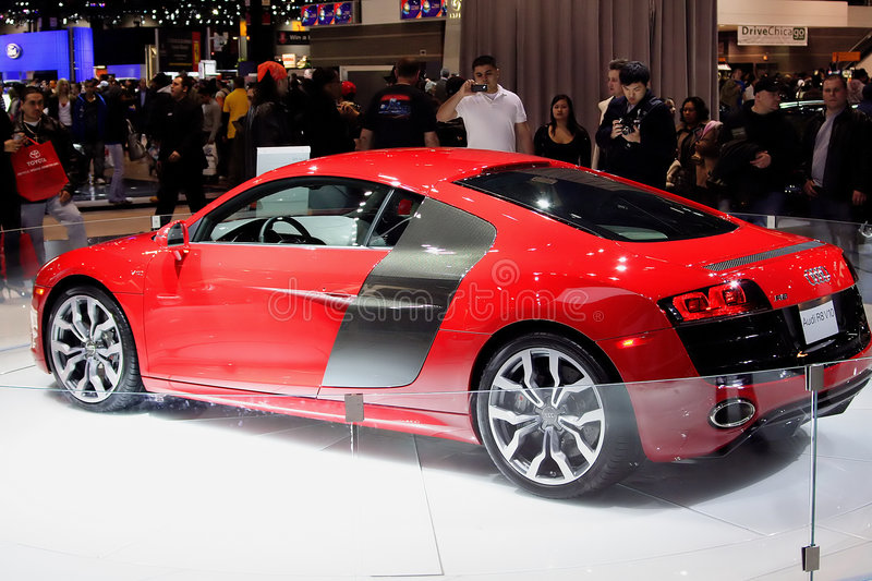 Audi R8. V10 at the 2009 Chicago Auto Show stock images