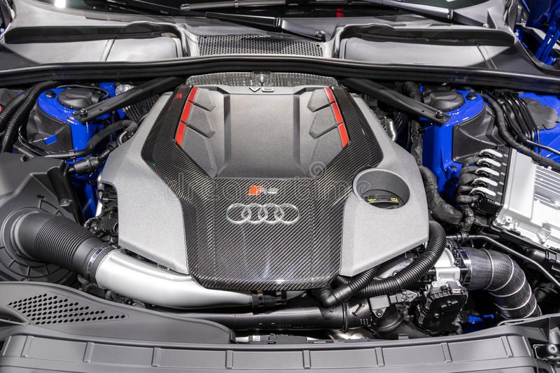 Audi RS4 Avant quattro high performing car engine royalty free stock photography