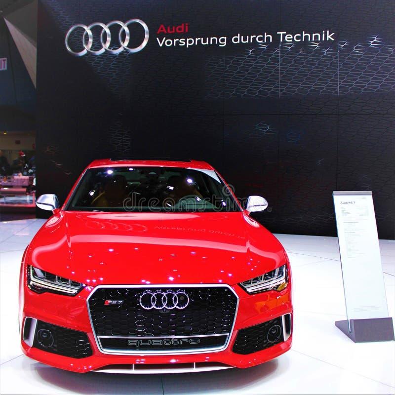 Audi 2015 RS 7 Quattro en el salón del automóvil de Detroit imágenes de archivo libres de regalías