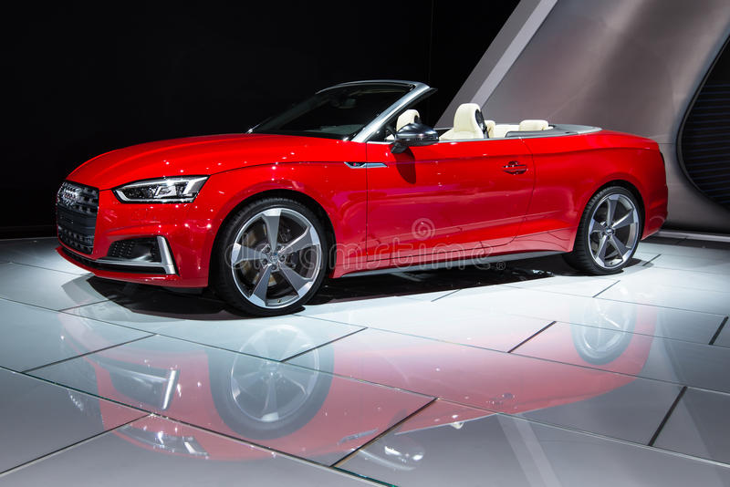 2018 Audi S5. DETROIT, MI/USA - JANUARY 10, 2017: A 2018 Audi S5 Cabriolet car at the North American International Auto Show (NAIAS royalty free stock images