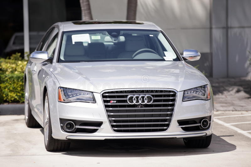 2014 Audi S8. MIAMI - SEPTEMBER 26: Stock image of a 2014 Audi S8 on display at a car dealership in Miami September 16, 2013 in Miami, USA stock images