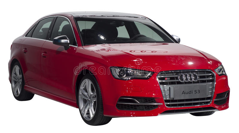 AUDI S3. Red Audi S3 vehicle isolated on white stock image