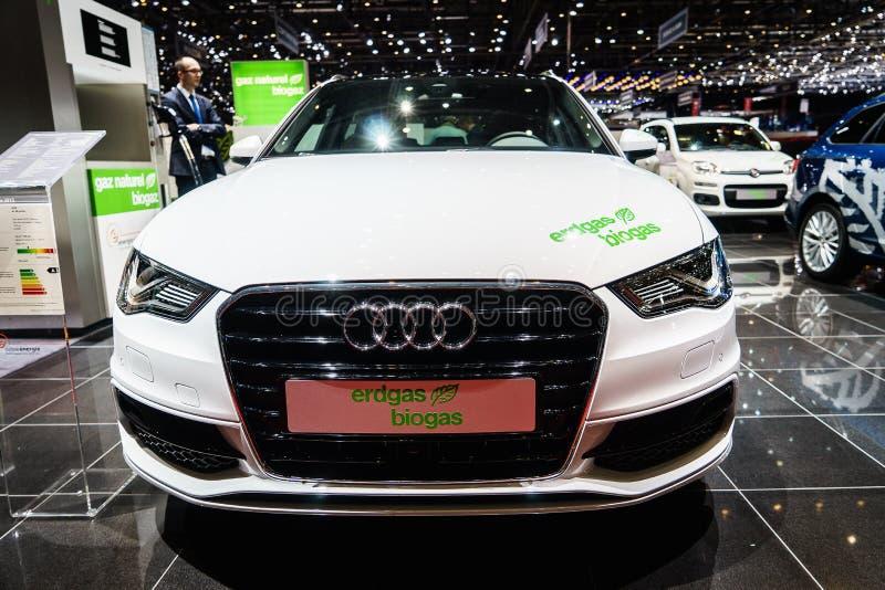 Audi A3 Sportback g-Tron Erdgas/biogás, exposição automóvel Genebra 2015 foto de stock