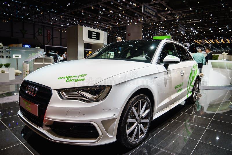Audi A3 Sportback GTron Erdgas/Biogas, Autoausstellung Geneve 2015 stockfotografie
