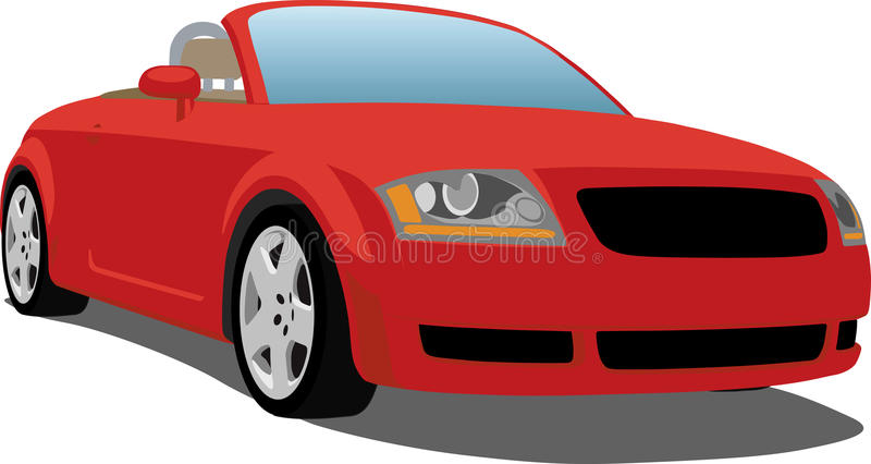 Audi TT roadster. A Vector .eps illustration of a German Audi TT sports car. Saved in layers for easy editing. See my portfolio for more automotive images stock illustration