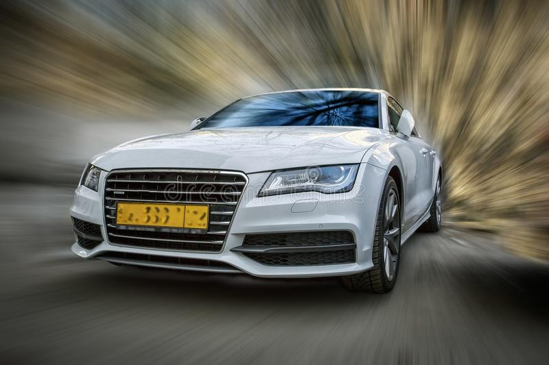 Audi A7 white car. royalty free stock photography