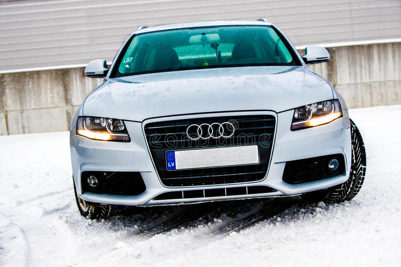Audi In Winter. Nice silver Audi A4 in winter stock photography