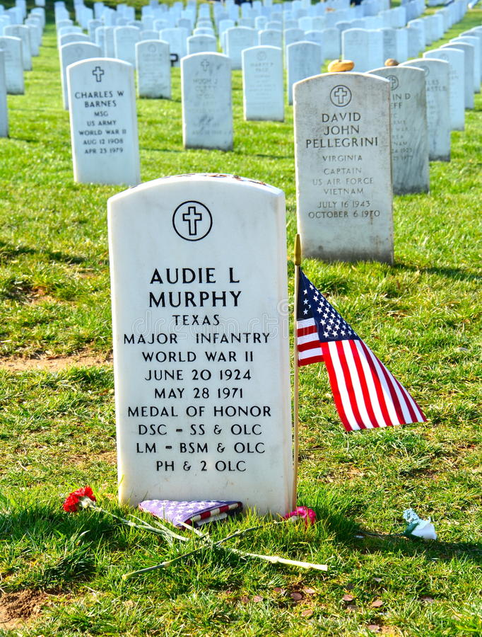Audie Murphy Grave em Arlington fotografia de stock