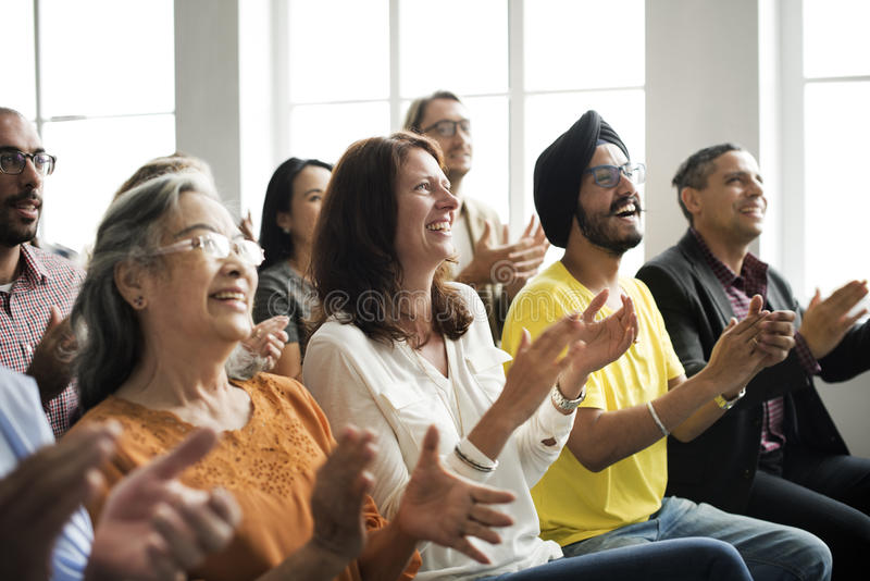 Audience Applaud Clapping Happines Appreciation Training Concept.  stock images