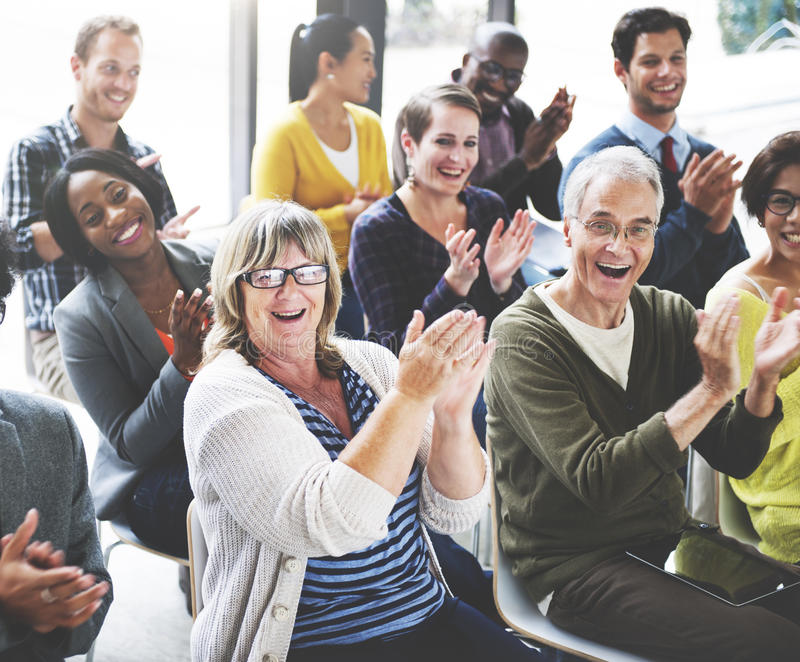 Audience Applaud Clapping Happiness Appreciation Training Concept.  stock photo