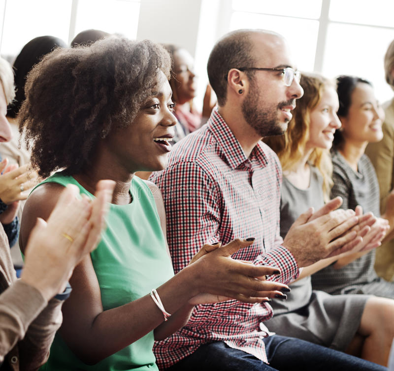 Audience Applaud Clapping Happiness Appreciation Training Concept.  stock photography