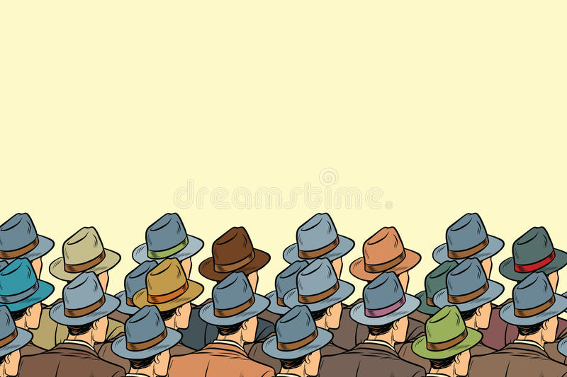 The audience background, men standing back vector illustration
