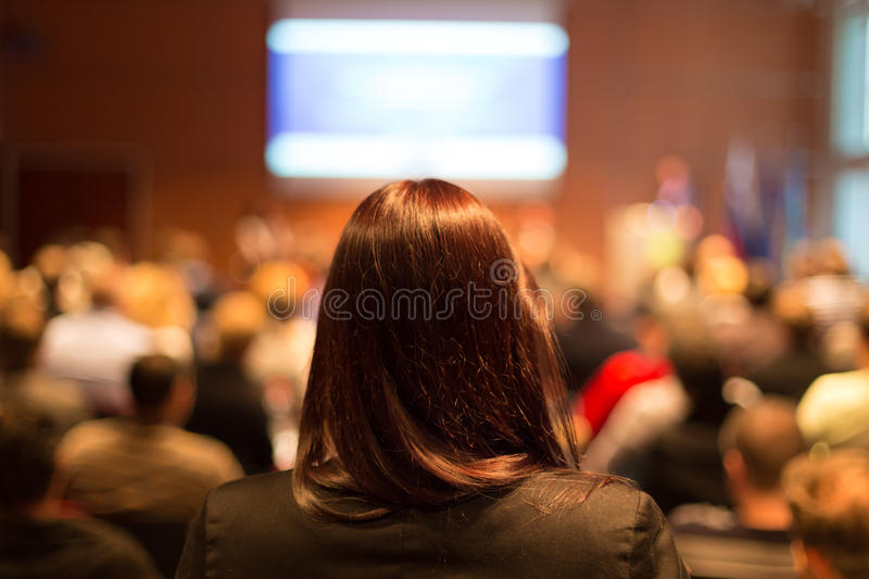 Audience at the conference hall. stock photos