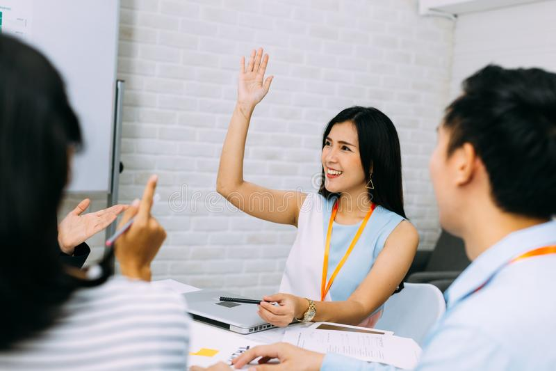 Audience is curious in active discussion stock photos