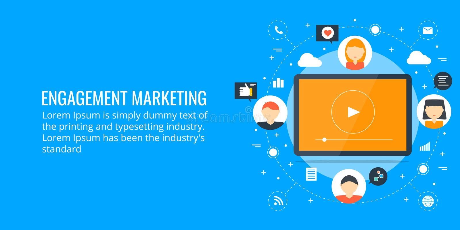 Audience engagement - network marketing concept. Flat design marketing banner. Concept of network marketing, audience engagement and digital business. Flat royalty free illustration