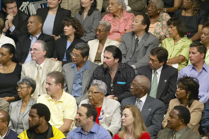 Audience listening to Senator John Kerry. At major policy address on the economy, CSU- Dominguez Hills, Los Angeles, CA royalty free stock images