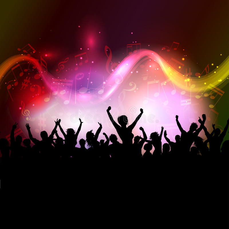 Audience on music notes background stock illustration