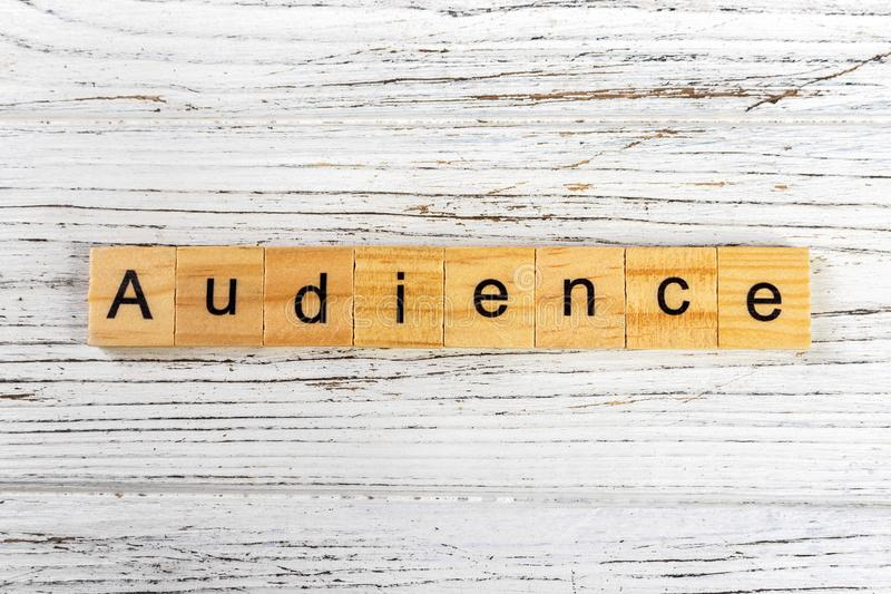 AUDIENCE word made with wooden blocks concept.  royalty free stock photos