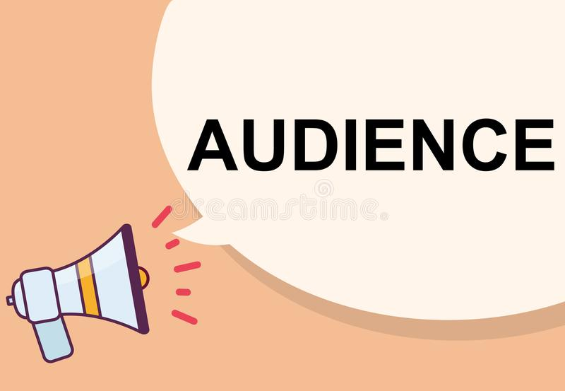 Audience word with megaphone illustration graphic design.  royalty free illustration