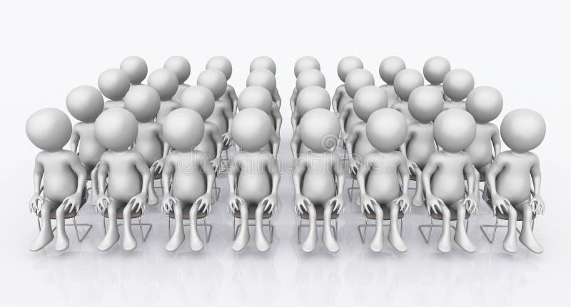 Audiencia con las figuras 3D ilustración del vector