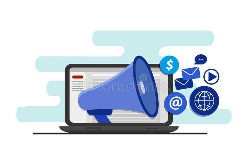 Audiencia de alcance con la publicidad digital, calificando, y medios márketing digital, concepto del vector con los iconos ilustración del vector
