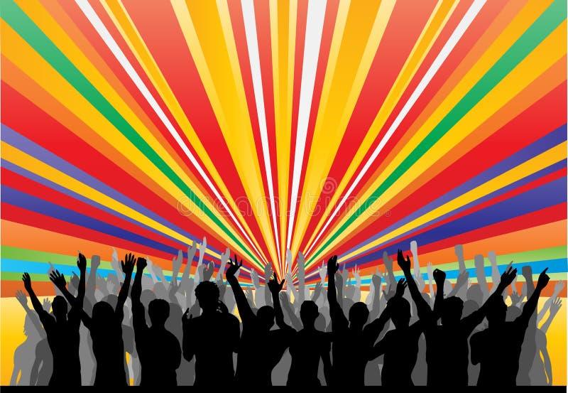 Audiencia del arco iris que anima stock de ilustración