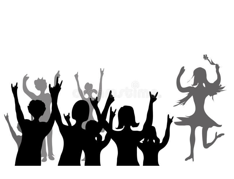 Audiencia feliz stock de ilustración