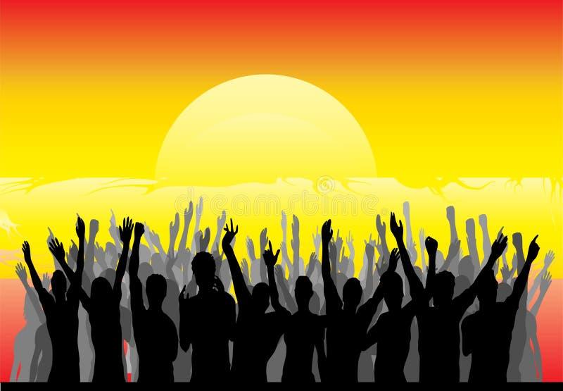 Audiencia que anima la salida del sol stock de ilustración