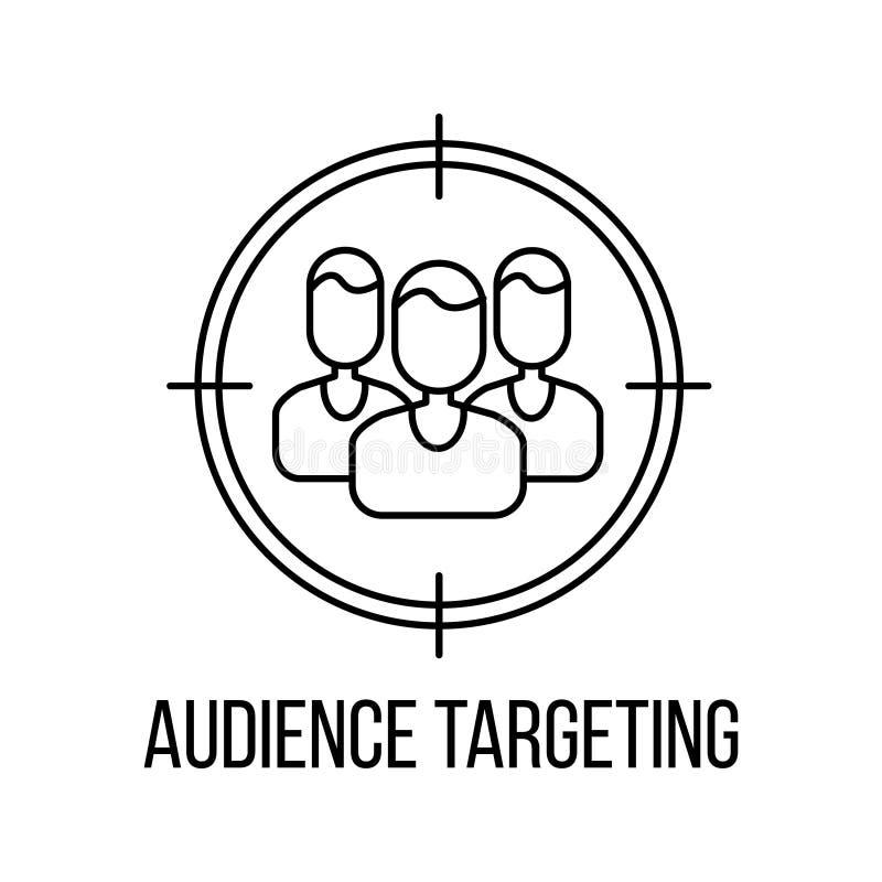Audiencia que apunta el icono o el logotipo stock de ilustración