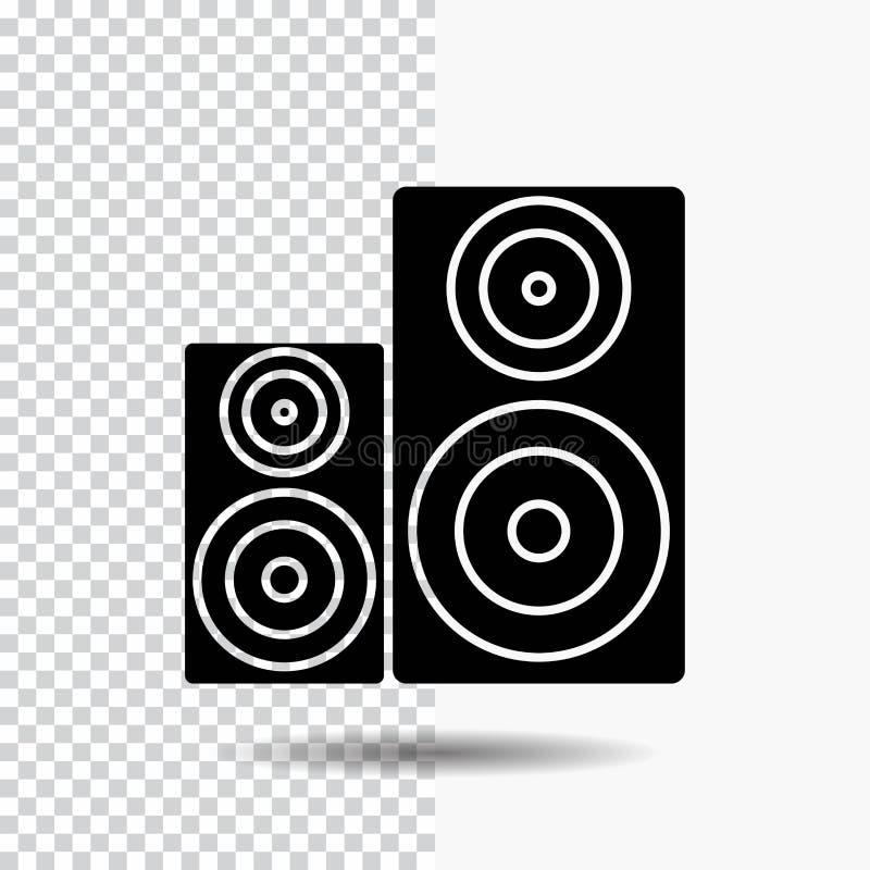 Audio, alta fidelidad, monitor, altavoz, icono del Glyph del estudio en fondo transparente Icono negro libre illustration
