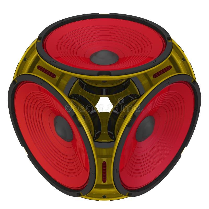 Audio altoparlanti rotondi sistemati sotto forma di un cubo royalty illustrazione gratis