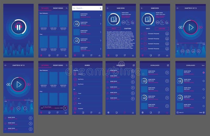 Audio androide di progettazione di ui del app del libro illustrazione vettoriale