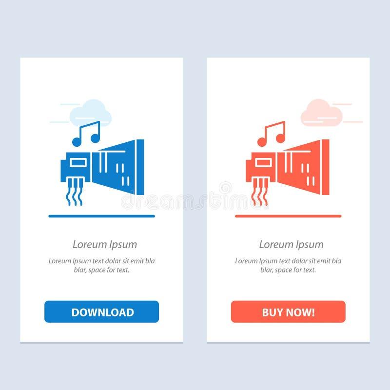 Audio, arenador, dispositivo, hardware, azul de la música y transferencia directa roja y ahora comprar la plantilla de la tarjeta ilustración del vector