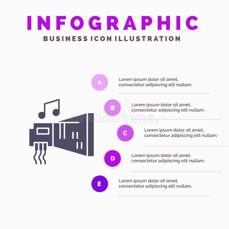 Audio, arenador, dispositivo, hardware, fondo sólido de la presentación de los pasos de Infographics 5 del icono de la música libre illustration