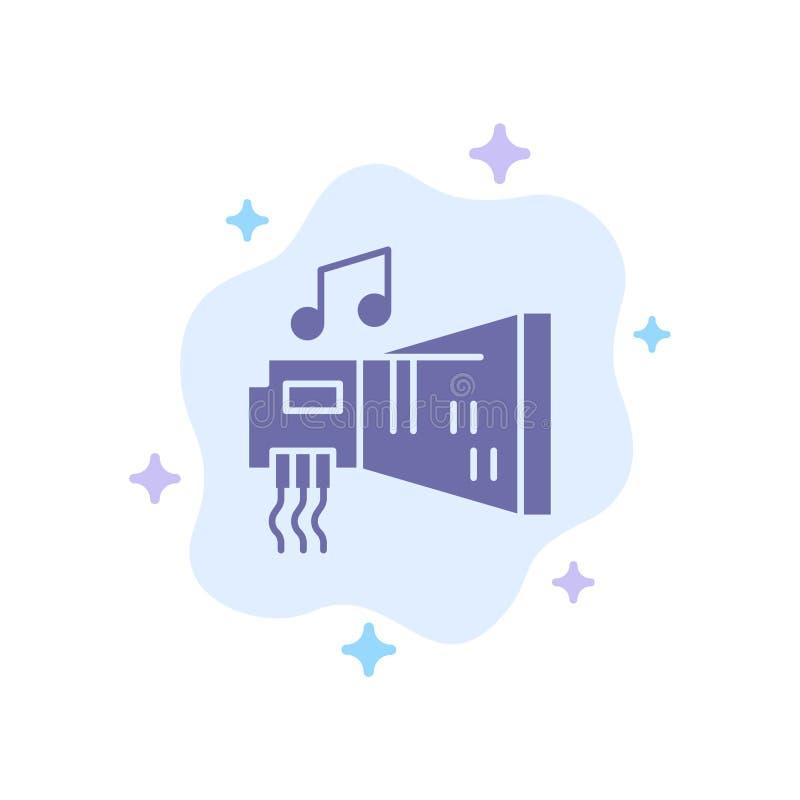 Audio, arenador, dispositivo, hardware, icono azul de la música en fondo abstracto de la nube libre illustration