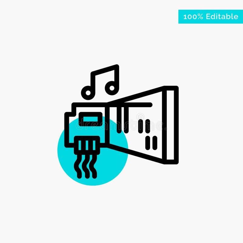 Audio, arenador, dispositivo, hardware, icono del vector del punto del círculo del punto culminante de la turquesa de la música ilustración del vector