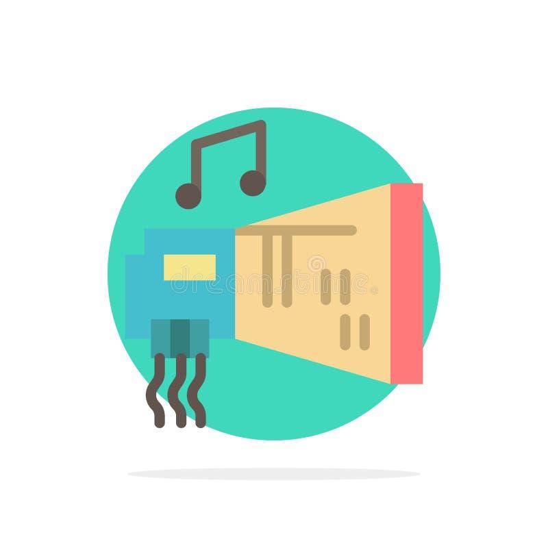 Audio, arenador, dispositivo, hardware, icono plano del color de fondo abstracto del círculo de la música ilustración del vector