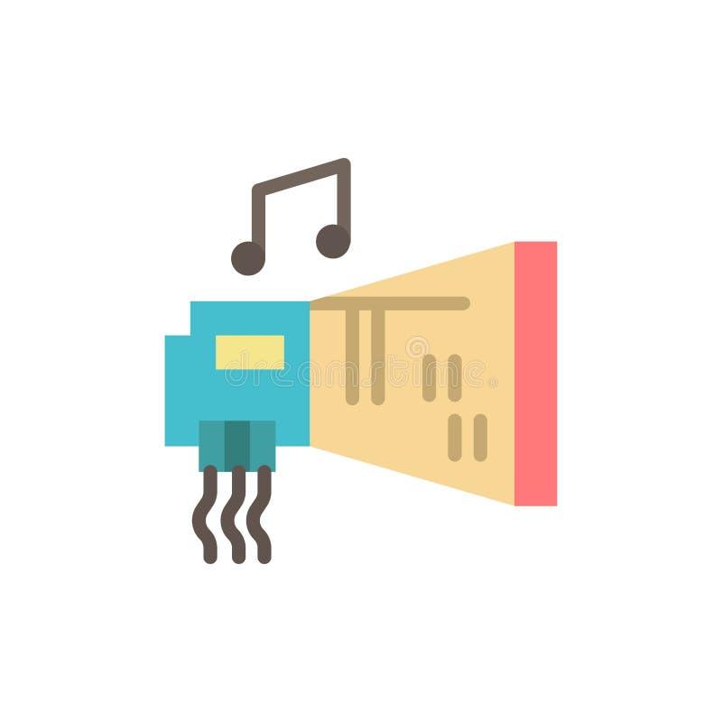 Audio, arenador, dispositivo, hardware, icono plano del color de la música Plantilla de la bandera del icono del vector stock de ilustración