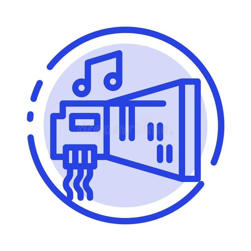 Audio, arenador, dispositivo, hardware, línea de puntos azul línea icono de la música ilustración del vector