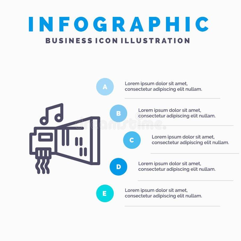 Audio, arenador, dispositivo, hardware, línea icono de la música con el fondo del infographics de la presentación de 5 pasos stock de ilustración